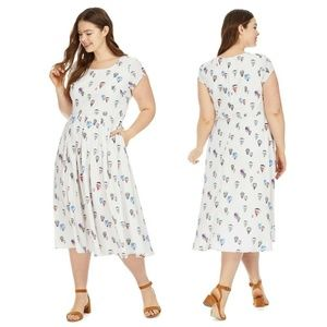 eSHAKTI Hot Air Balloon Print Midi Dress Pockets